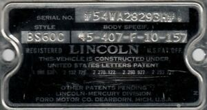 54 1954 Lincoln Sports Coupe Cowl Data Body Plate Trim Code Tag
