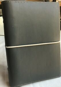 Filofax Domino Personal Smooth Gray Leather Look Organizer Nos unused