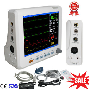Portable Medical Icu Vital Sign Patient Monitor Ecg Nibp Resp Temp Spo2 Pr 8inch
