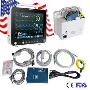 12 Portable Medical Patient Monitor Vital Signs Spo2 pr nibp ecg resp temp Fda
