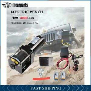 1x Electric Winch Synthetic Rope 3000lb 12v Tow Towing Truck Trailer W Remote