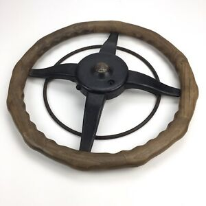 Vintage Ford Model T Locking Wood Steering Wheel With Horn Ring Hot Rod Rat