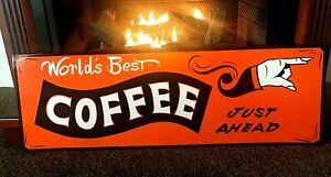 Personalized 12 X 36 Vintage Hand Painted Vintage Old Style Coffee Shop Sign