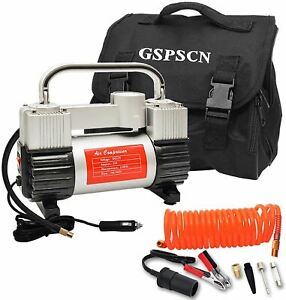 Gspscn Silver Tire Inflator Heavy Duty Double Cylinders With Portable Bag Metal