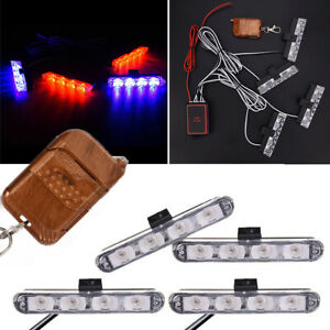 4x Led Car Red blue Police Strobe Flash Light Dash Emergency Warning Lamp Bulbs