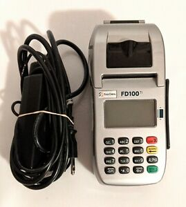 First Data Fd100 Ti Credit Card Machine With Power Cord Powered Up