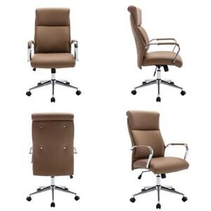Brown High Back Adjustable Height Leather Executive Swivel Office Chair Lumbar