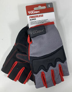 Hyper Tough fingerless Gloves sz L reinforced Palm And Knuckle Protection