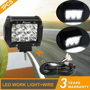 1pcs 4inch 240w Led Work Light Spot Pods Driving Strip Offroad 4wd Wire