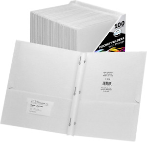 File ez Two pocket Folders With 3 prong Fasteners White Color 100 pack Paper