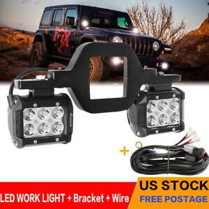 Pair 4inch 240w Led Work Light Spot Pods Driving Strip Offroad 4wd Brasket Wire