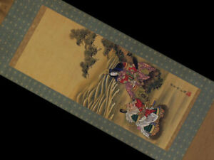 Japanese Antique Hanging Scroll Painting Handwriting Old Painting