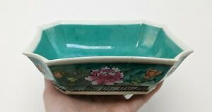 Antique Chinese Famille Rose Turquoise Low Footed Bowl Trinket Dish