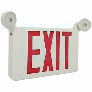Led Emergency Exit Sign Light Dual Lights Output Red Compact Combo Ul Listed