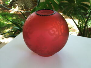 Rare Antique Victorian 8 5 Cranberry Glass Globe Lamp Shade Gwtw Parlor Oil