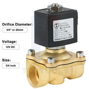 3 4in Viton Brass Electric Solenoid Valve Dc12v Normally Closed For Water Air Ga