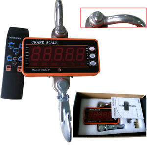 Digital Crane Scale Led Heavy Duty Hanging Scale 1000kg 2000lbs With Remote 1t