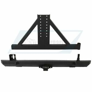 Fits For 87 06 Jeep Wrangler Tj Yj Rear Bumper With Tire Carrier Winch Texture