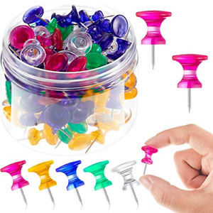 100 Pieces Giant Push Pins 1 Inch Standard Thumb Tacks Steel Point And Plastic