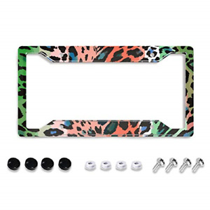 Personalized License Plate Frame Metal Aluminum Cheetah Leopard Brown Colorful 4