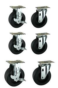 5 In Black Pp Caster Kit Ready To Assemble Steel Garage Base Cabinets