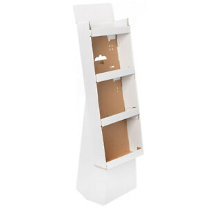 White Corrugate Cardboard Merchandise Retail Display Stand With 4 Shelves New