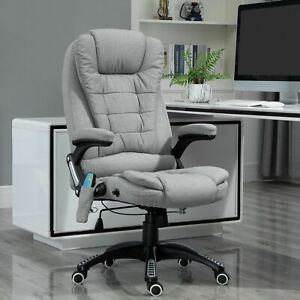 Vinsetto Office Chair W Heating Massage Points Relaxing Reclining Grey