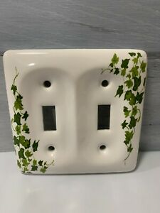Vintage Ceramic Porcelain Floral Double Light Switch Plate Cover Green Ivy