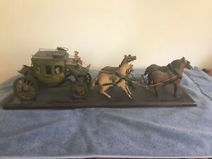 Late 19th Or Early 20 C Hand Carved Painted Folk Art Stage Coach And Four