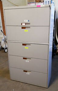 Bentson 5 Five Drawer Steel Lateral Legal File Cabinet Working Lock Key Toupe