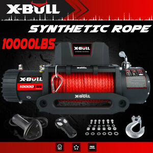 X Bull 10000lbs 12v Electric Winch Synthetic Rope Jeep Towing Truck Off Road 4wd