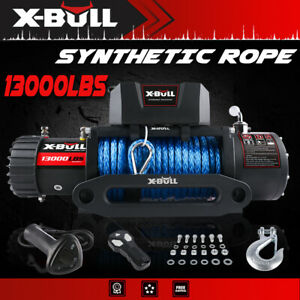 Electric Winch 12v 13000lbs Synthetic Rope Blue Jeep Towing Truck Off Road 4wd