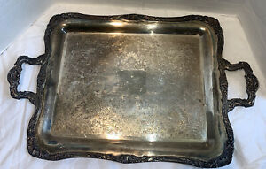 Vintage Silver Plated Decorative Etched Serving Tray With Handles