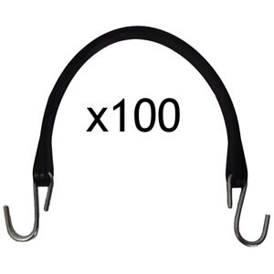 Set Of 100 15 Heavy Duty Natural Rubber Tarp Straps bungee Cords W S hooks