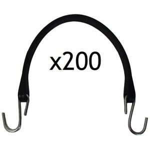 Set Of 200 Heavy Duty 15 Natural Rubber Tarp Straps bungee Cords W S hooks