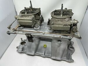 Vintage Offenhauser Power Port 360 2x4 Intake Manifold Carbs Race Chevy 350