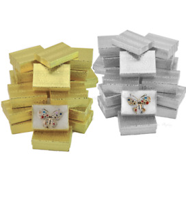 100pc Jewelry Boxes Gold Cotton Filled Jewelry Swirl Boxes Silver Gift Boxes