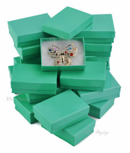 100pc Jewelry Boxes Teal Cotton Filled Jewelry Glossy Boxes Teal Gift Boxes