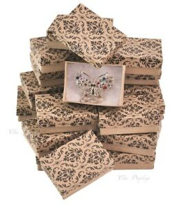 100pc Jewelry Boxes Damask Printed Cotton Filled Jewelry Boxes Kraft Gift Boxes
