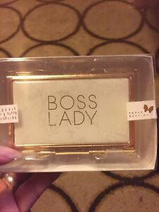Sealed Gold Business Card Holder Display With Boss Lady