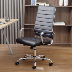 Home Office Chair Pu Leather High Back Executive Desk Chair Chrome Steel Base