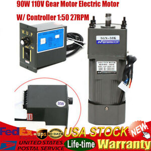 90w Gear Motor Electric Variable Speed Controller Torque Large 1 50 27rpm 110v
