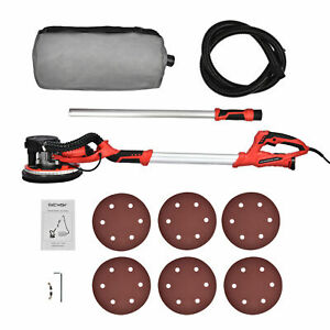 800w Drywall Sander Electric Adjustable 5 Speed 6 Sanding Pads Dust Collection