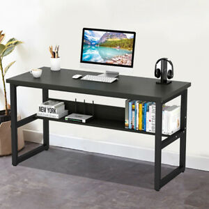 Large Wood Office Table Computer Desk With Bookshelf Wooden 4 Colors 44 30 24 In