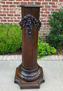Antique French Pedestal Column Plant Stand Display Table Fluted Carved Oak 19thc