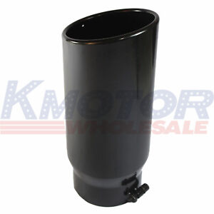 Exhaust Tip 5 Inlet 6 Outlet 15 Inch Long Black Rolled End Angle Cut Tail Pipe