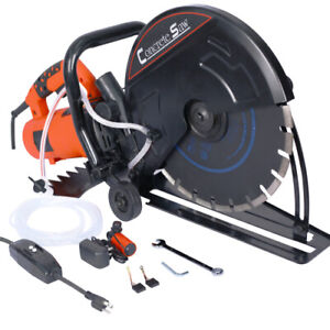 Electric 14 Cut Off Saw Wet dry Concrete Saw Cutter Guide Roller W Attachment