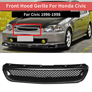 Honda Civic 98 97 96 Black Mesh Abs Front Replacement Hood Grille Grill Lx Ex Ek