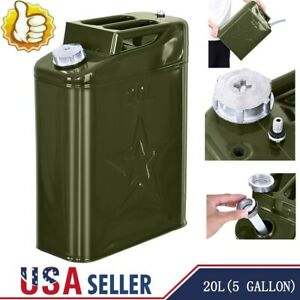 Jerry Can 20l Liter Oil Drum 5 Gallon Backup Tank F Uel Gas Gasoline Green Us