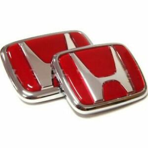 97 01 Honda Prelude Front And Rear Emblems Jdm H Red Badges